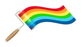 Spazzola del rullo di vernice con la vernice del Rainbow royalty illustrazione gratis