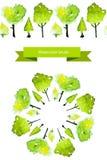 Spazzola dell'albero della molla di vettore Alberi verdi dell'acquerello Fotografie Stock Libere da Diritti