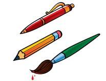 Spazzola della matita della penna Fotografia Stock Libera da Diritti