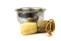 Spazzola di rasatura del barbiere dell'annata con metallo che rade la BO fotografia stock libera da diritti