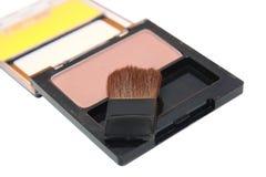 Spazzola di trucco e polvere del cosmetico Immagine Stock Libera da Diritti