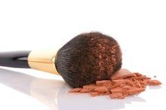 Spazzola di trucco e polvere marrone Fotografia Stock Libera da Diritti