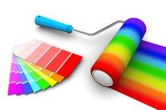 Spazzola e campione del rullo dell'arcobaleno Immagini Stock Libere da Diritti