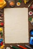 Spazzola e pittura sul legno Immagine Stock Libera da Diritti