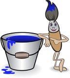 Spazzola e una benna di vernice blu illustrazione vettoriale