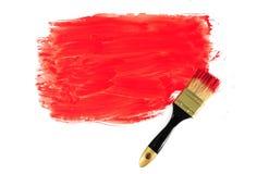 Spazzola e vernice rossa Fotografia Stock