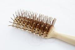 Spazzola per capelli con capelli persi Fotografie Stock