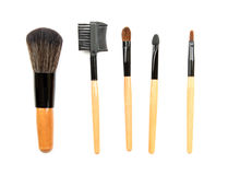 Spazzola professionale di trucco raccolta delle spazzole su fondo bianco Immagine Stock Libera da Diritti