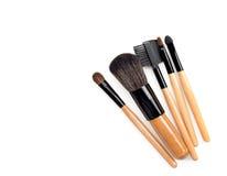 Spazzola professionale di trucco raccolta delle spazzole su fondo bianco Fotografia Stock Libera da Diritti