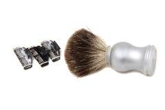 Spazzola, radente i rasoi utilizzati per radersi Immagine Stock Libera da Diritti