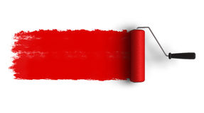 Spazzola rossa del rullo con la traccia di vernice Fotografia Stock Libera da Diritti