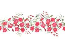 Spazzola senza cuciture del modello con le rose e le erbe Immagini Stock Libere da Diritti
