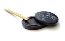 Spazzole cinesi di calligrafia Fotografia Stock