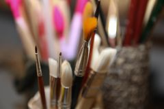 Spazzole del ` s dell'artista Art Culture Abstract Concept fotografia stock