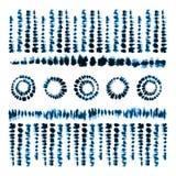 Spazzole di arte della tintura del legame Stampa nello stile di Shibori Ornamento del nastro, nastro, confine Fotografia Stock