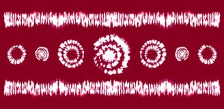 Spazzole di arte della tintura del legame Stampa nello stile di Shibori Ornamento del nastro, nastro, confine Fotografia Stock Libera da Diritti