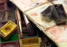Spazzole e acquerello Fotografia Stock
