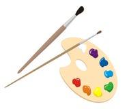 Spazzole e gamma di colori Immagini Stock