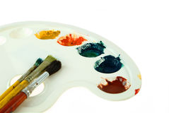 Spazzole e gamma di colori di pittura Fotografia Stock