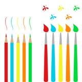 Spazzole e matite royalty illustrazione gratis
