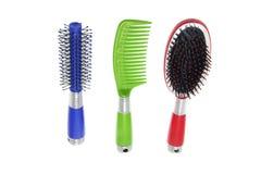 Spazzole e pettine di capelli Fotografie Stock