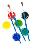 Spazzole e vernice variopinta di gouache Immagine Stock Libera da Diritti