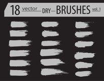 spazzole Insieme della pittura del toner Colpi artistici strutturati lerciume, progettazione di vettore Spazzole disegnate a mano Immagine Stock
