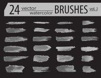 spazzole Insieme della pittura del toner Colpi artistici strutturati lerciume, progettazione di vettore Spazzole disegnate a mano Fotografie Stock
