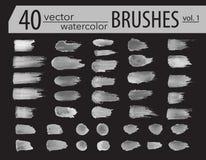 spazzole Insieme della pittura del toner Colpi artistici strutturati lerciume, progettazione di vettore Spazzole disegnate a mano Immagini Stock