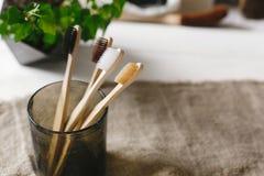 Spazzolini da denti di bambù naturali di Eco in vetro sui wi rustici del fondo fotografia stock