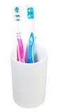 Spazzolini da denti di paia in vetro ceramico Immagini Stock Libere da Diritti