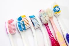 Spazzolini da denti utilizzati Colourful Fotografia Stock