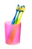Spazzolini da denti in vetro Fotografie Stock