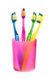Spazzolini da denti in vetro Fotografia Stock Libera da Diritti