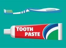 Spazzolino da denti, dentifricio in pasta in tubo illustrazione vettoriale