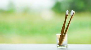 Spazzolino da denti di bamb? del bagno di concetto meno di plastica residuo zero di uso in vetro sul fondo di verde della natura immagine stock