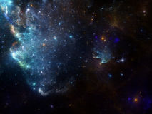 Space background with nebula and galaxies. Deep sky fractal image  with nebula and galaxies background and texture for creating space scene Stock Photo