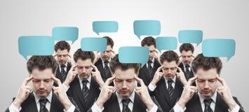 spe för samkväm för tecken för affärsmanpratstundgrupp Arkivbild