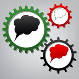 Speach bubble sign illustration. Vector. Three connected gears w stock illustration