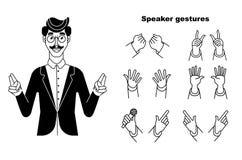 Speacker gester Konferenshögtalare Ge ett samtal på etapp på etapp till åhörare i konferenskorridoren Åhörare eller konferens stock illustrationer