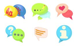 Speak bubble icon set, cartoon style. Speak bubble icon set. Cartoon set of speak bubble vector icons for web design isolated on white background Vector Illustration