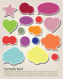 Speak bubbles. Set of different colored speak bubbles with sample text message Stock Photography