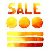 Speak bubbles, banner red orange watercolor set vector Stock Photography