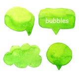 Speak bubbles watercolor set vector. Speak bubbles green watercolor icons set vector royalty free illustration