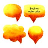 Speak bubbles watercolor set vector. Speak bubbles red, yellow and orange watercolor icons set vector Stock Photo