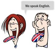 We speak English. Cartoon illustration of a woman and man speaking English Stock Photo
