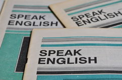 Speak english. Language manuals. Close view on manuals of English language. Learn English. Study English. Concept image stock images