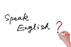 Speak English?. Words written on the white board Stock Image