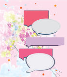 Speak frame on romantic floral background Royalty Free Stock Photography
