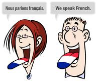 We speak French. Stock Images
